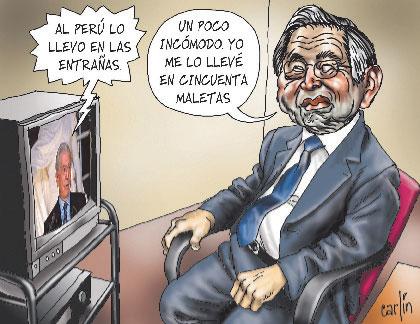 """En television: """"Al Perú lo llevo en las entrañas"""". Fujimori: """"Un poco incómodo, yo me lo llevé en 50 maletas""""."""